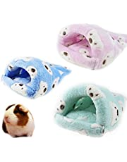 FLAdorepet Rat Hamster House Bed Winter Warm Fleece Small Pet Squirrel Hedgehog Chinchilla Rabbit Guinea Pig Bed House Cage Nest Hamster Accessories (L, Random)