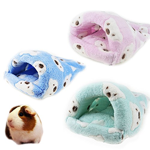 (FLAdorepet Rat Hamster House Bed Winter Warm Fleece Small Pet Squirrel Hedgehog Chinchilla Rabbit Guinea Pig Bed House Cage Nest Hamster Accessories (L, Random))