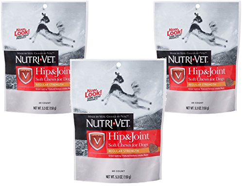Nutri-Vet Hip and Joint Regular Strength Soft Chew for Dogs, 60-Count each, 5.3oz (150g), 3 Pack