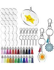 120 قطعة من أقراص دائرية شفافة من الأكريليك من جونيا، سلسلة مفاتيح أكريليك دائرية ودائرية سداسية شفافة من أجل صناعة يدوية ومشروعات