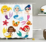 Cute Bathroom Sets Mermaid Decor Shower Curtain Set By Ambesonne, Collection Of Cute Colorful Mermaids And Sea Friends Kids Cheering Joyful, Bathroom Accessories, 69W X 70L Inches