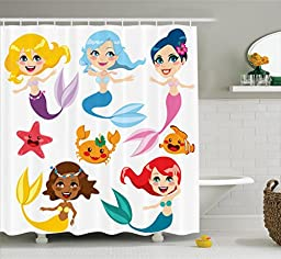 Mermaid Decor Shower Curtain Set By Ambesonne, Collection Of Cute Colorful Mermaids And Sea Friends Kids Cheering Joyful, Bathroom Accessories, 75 Inches Long