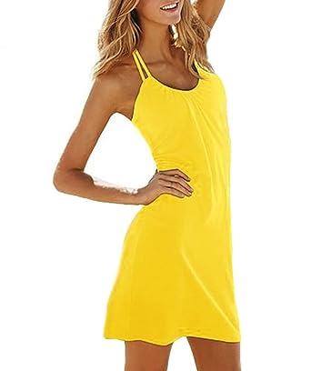 SODACODA Strand Kleid - Ärmellos - Figurbetonendes Abend Party Kleidchen  (Gelb, Einheitsgröße S-