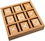 Tic-Tac-Toe Wood Game Set by GrowUpSmart   Classic Wooden Board Game for Kids   Mini Travel Set