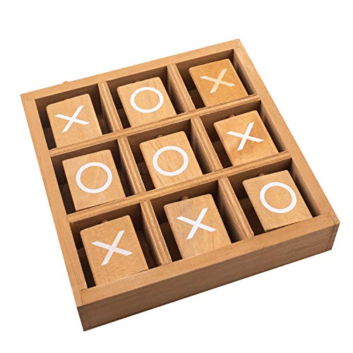 Tic-Tac-Toe Wood Game Set by GrowUpSmart | Classic Wooden Board Game for Kids | Mini Travel Set