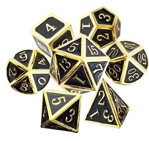 UONUOT 7pcs DND Metal Dice Set with Black Pouches D&D Tabletop Games Embossed Heavy Polyhedral Metal Dice for Dungeons and Dragons Role Playing Games RPGs/DND/Set,Math Teaching(Gold Black)