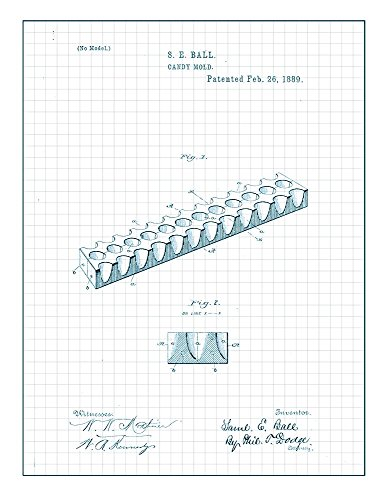 Candy Mold Patent Print Art Poster Blue Grid