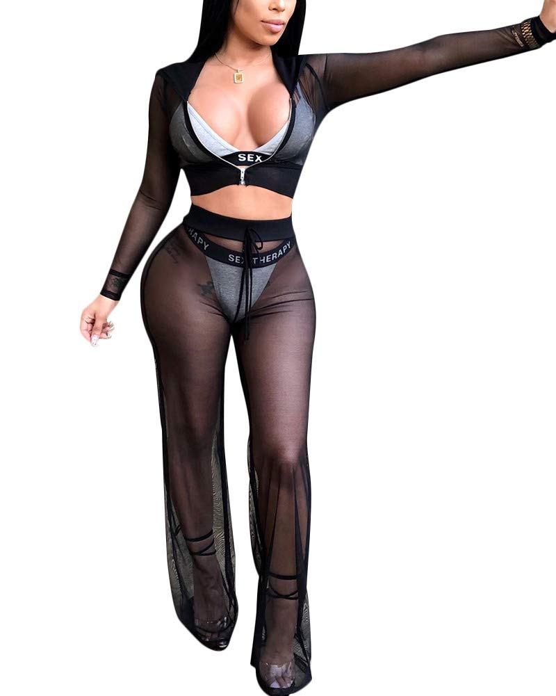 37e8acdb00 Womens See Though Sheer Mech Hoodies Crop Top Pants Set 2 Piece Outfits Bikini  Swimsuit Cover up Black M