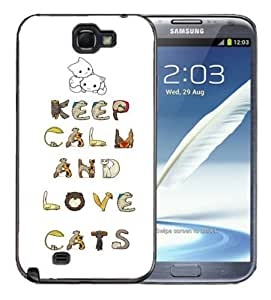 Samsung Galaxy Note 2 Black Rubber Silicone Case - Keep Calm and Love Cats Very Cute cat lovers