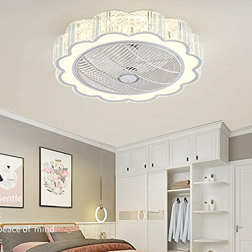 Orillon Modern Flush Mount Crystal Ceiling Fan with Light for Indoor Kitchen Bathroom Bedroom, 22 inches Chandelier Fan Remote LED 3 Color Lighting Low Profile Quiet Hidden Electric Fandelier
