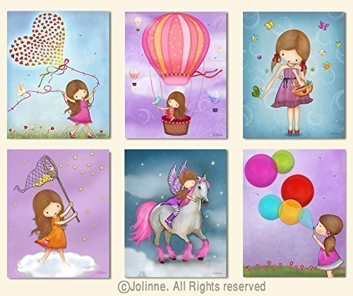 Girls Room Posters Wall Art Decor Kids Bedroom Artwork Baby Nursery Pictures Set of 6 Unframed 8x10 Inches Prints