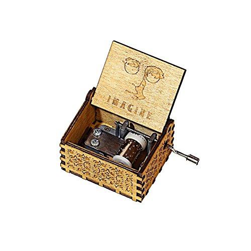 HOSALA Personalizable Imagine Music Box Handmade Engraved Wooden (Wood, Imagine) ()