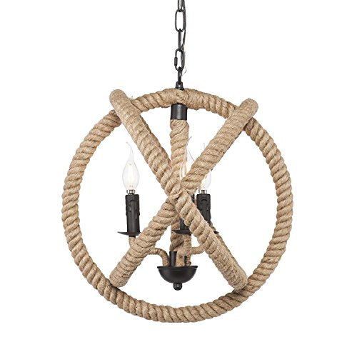 Eapmic 3-Light Rope Orb Chandelier Lights Ceiling Fixture Sphere Pendant Lamp Iron with Rope