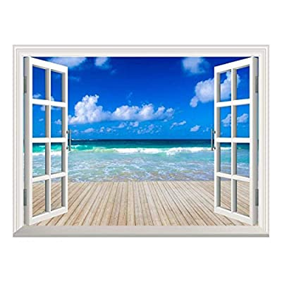 Removable Wall Sticker/Wall Mural - Tropical Sea Under The Blue Sky | Creative Window View Home Decor/Wall Decor - 36