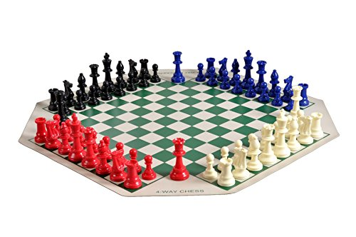 The House of Staunton Four Player Chess Set Combination - Single Weighted Regulation Colored Chess Pieces, Four Player Vinyl Chess Board