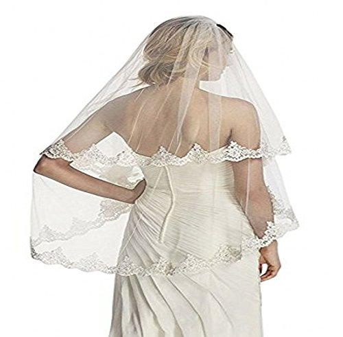 WAJY BRIDE Simple Lace Appliques Wedding Veil With Comb White/Ivory (White) by WAJY
