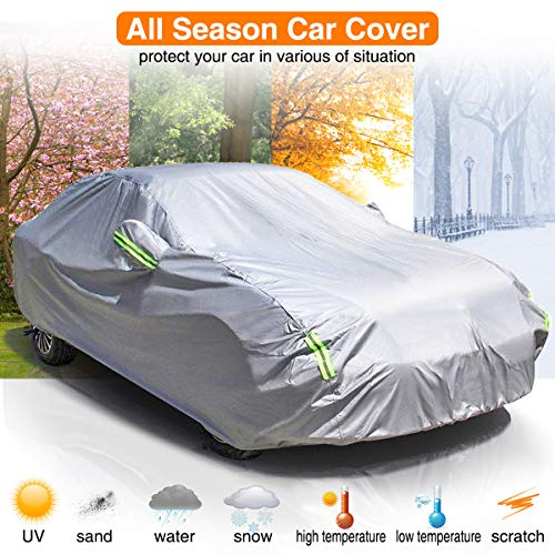 MATCC Car Cover Waterproof All Weather Upgraded UV Protection Sedan Cover Universal Fit Outdoor Full Car Cover Up to 197''(197''L x 75''W x 59''H)