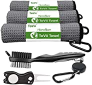 ToVii Golf Towel Microfiber Waffle Pattern Club Groove Cleaner Brush Foldable Divot Tool with Magnetic Golf Gi