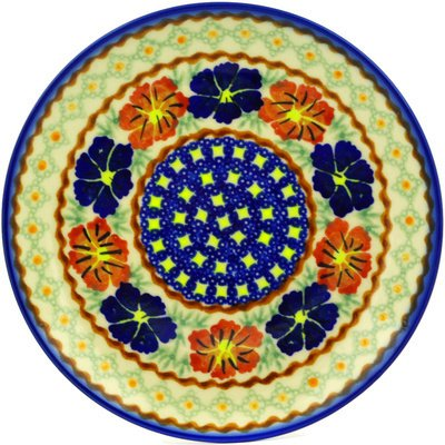 Paradise Stoneware Plates - Polish Pottery Dessert Plate 7-inch Paradise Poppy UNIKAT
