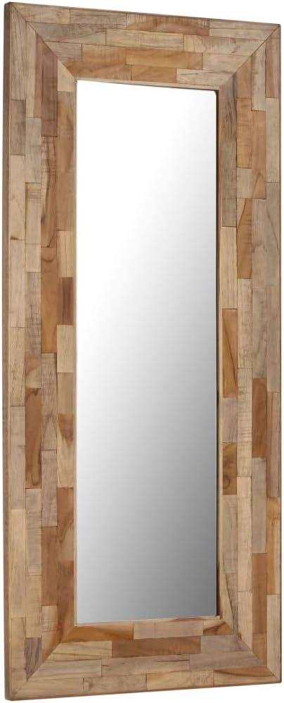 ROMELAREU Espejo de Madera de Teca reciclada 50x110 cmCasa y jardín Decoración Espejos: Amazon.es: Hogar