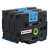 Madabcom 3 Pack compatible for Brother P-Touch TZ521 TZE521 TZ 521 TZE 521 Laminated Label Makers & Printers Tape 9mm Black on Blue , 3/8 Inch x 26.2 Feet