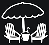 """BEACH CHAIRS AND UMBRELLA 3 5"""" WIDE DECAL WHITE - manufactured & sold by EYECANDY DECALS only offers"""
