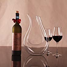 ADSRO New Fashion Crystal Glass U-shaped Horn Wine Decanter Wine Pourer Wine Container