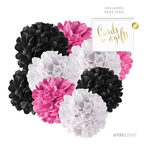 Andaz Press Hanging Tissue Paper Pom Poms Party Decor Trio Kit with Free Party Sign, Fuchsia, Black, White, 16-Pack, For Hot Pink Sweet 16 Birthday 15 Quinceanera Bachelorette Decorations