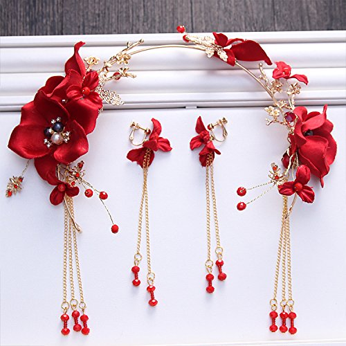 Olici MDRW-Bride Wedding Prom Hair Pins Tassel Earrings Red Gold Silk Flower Tiara Beaded Tassels Headbanddress Accessories ()