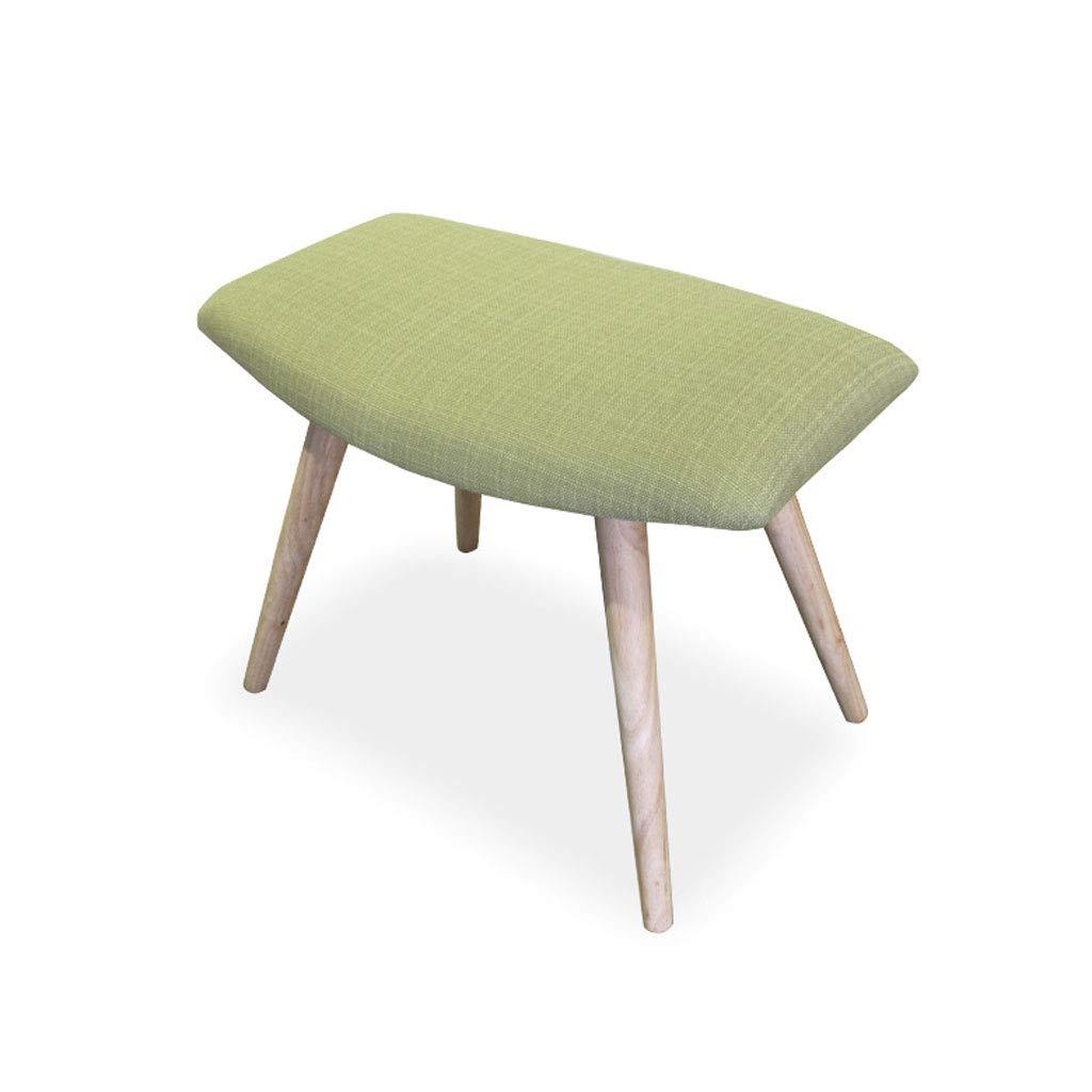 Pequeño Taburete Silla Multifuncional de la Sala de Estar del Dormitorio de Madera sólida de algodón y Lino V (Color : Green, Tamaño : L38CMXW36CMXH46CM)