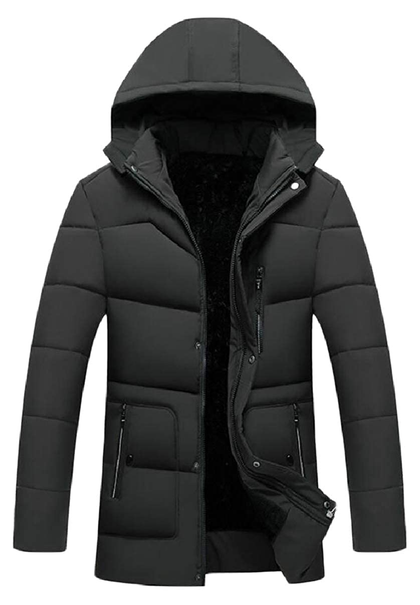 CBTLVSN Mens Thick Padded Mid Long Length Faux Fur Lined Warm Winter Down Jacket Coat