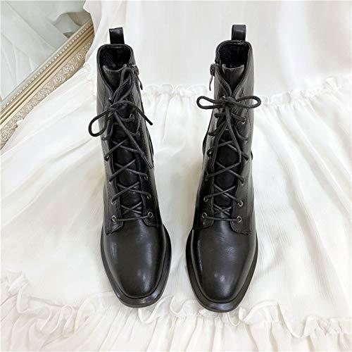 Liuxc High Heels Seitlicher Reißverschluss Stiefelies , PU quadratischer Kopf Dicker Fersenaufladungen weiblicher seitlicher Reißverschluss personifizierte Motorradstiefel