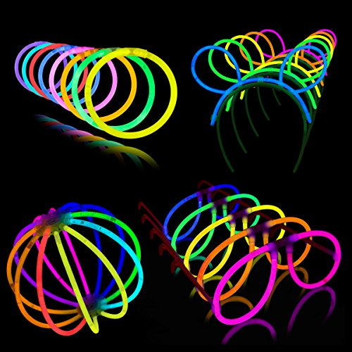 Glow Sticks 200 Piece Neon Festival Party Pack - Lumistick Glowsticks with Bracelets, Glasses, Headbands, and Glowing - Glow The Dark Eyeglasses In
