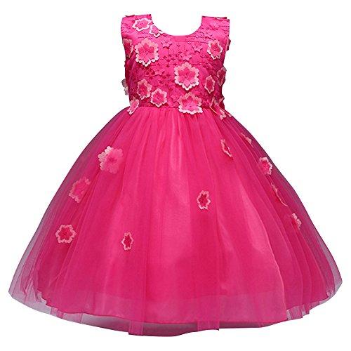 JIANLANPTT Little Flower Girl Lace Dresses Bridesmaid Wedding Party Dress Frocks Design Ball Gown Rose Pink 90(1-2years)