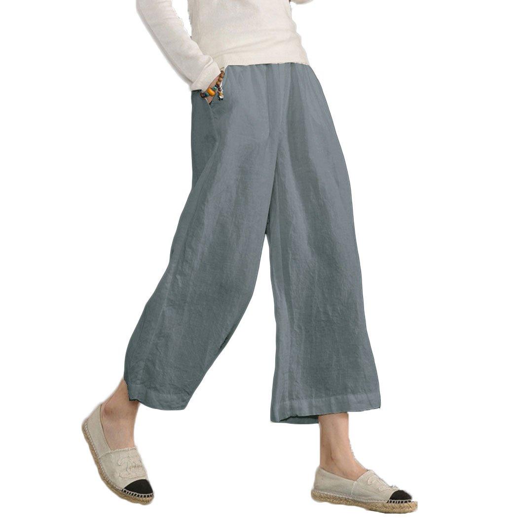 Ecupper Womens Casual Loose Plus Size Elastic Waist Cotton Trouser Cropped Wide Leg Pants Gray 6-8