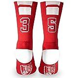 Custom Team Number Crew Socks | Athletic Socks by ChalkTalkSPORTS | Red | 35