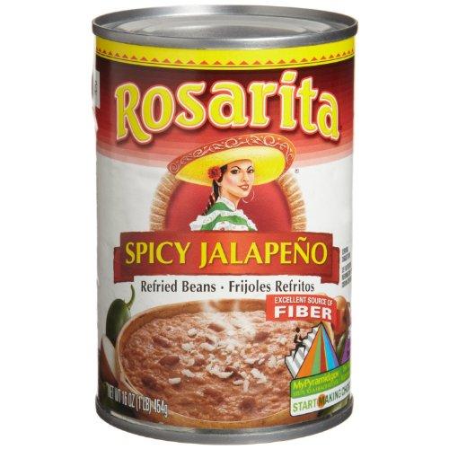 Rosarita Refried Beans 16oz Can (Pack of 6) Choose Flavor Below (Spicy ()