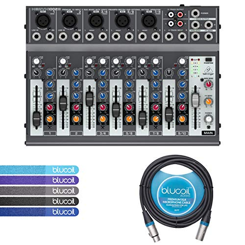 Behringer XENYX 1002B 2-Bus Mixer with 3-Band EQ, Mic Preamps BUNDLED WITH Blucoil 10-Ft Balanced XLR Cable AND 5 Pack of Cable Ties