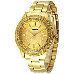 Jechin Men's Luxury Quarzt Analog Gold Stainless Steel Watch with Crystal Accented Bezel