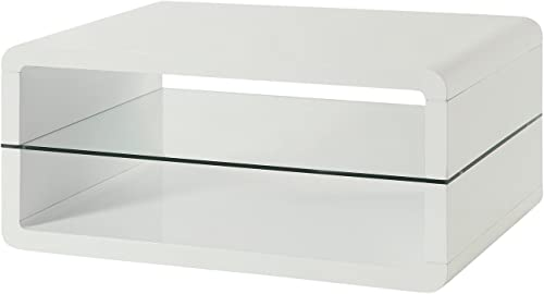 Coffee Table with 2-shelf White and Clear