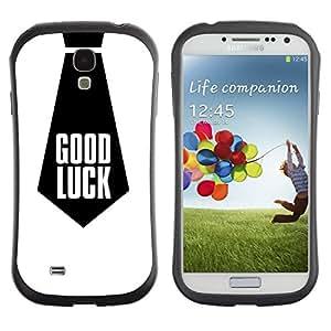 "Hypernova Slim Fit Dual Barniz Protector Caso Case Funda Para SAMSUNG Galaxy S4 IV / i9500 / i9515 / i9505G / SGH-i337 [Buena Suerte Cita Trabajo corbata Negro""]"