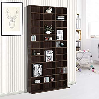 Image of Homcom Wooden Wall Bookcase, Brown, 195 x 102 x 23.5 cm CD Racks
