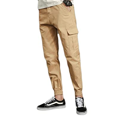 Zimaes-Men Athletic Solid Big Pockets Elastic Bottom Trousers Pants