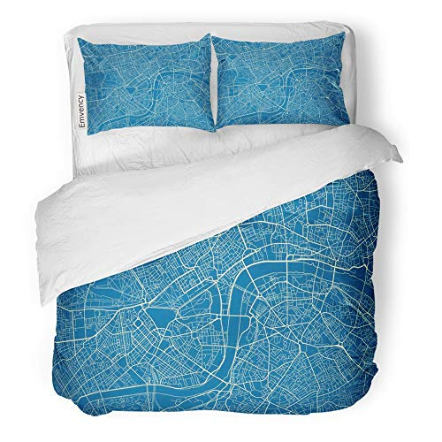 Emvency Decor Duvet Cover Set Twin Size Gray Blue and White City Map of London with Well Organized Separated Layers Old 3 Piece Brushed Microfiber Fabric Print Bedding Set Cover]()