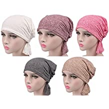Women Cotton Chemo Cap for Cancer Patients 5 Pack Slouch Beanie