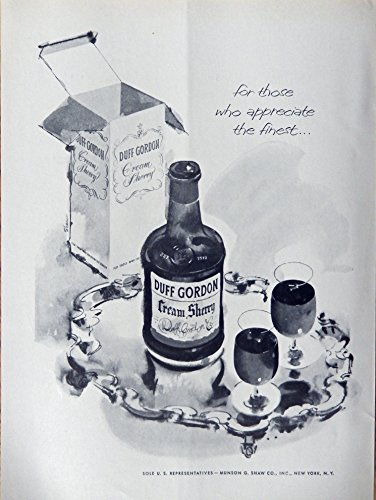 Duff Gordon Cream Sherry, 50's Print ad. Full page B&W Illustration (bottle and drinks on silver tray) Authentic original Vintage 1956 Theatre Arts Magazine Print Art