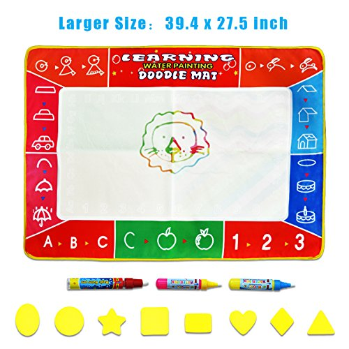 Large Water Doodle Mat - Meland Colorful 39.4 X 27.5 Inch Magic Water Drawing Mat Pad with 3 Water Pens and 8 Molds, Kids Educational Travel Toy Gift for Boys Girls Toddlers Age 2 3 4 5 6, Multicolor