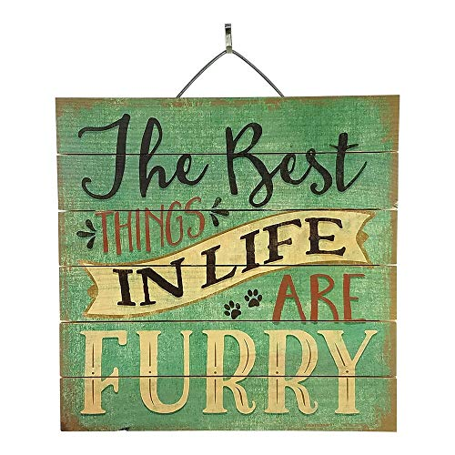 Imprints Plus Best Things in Life are Furry Reclaimed Wood Sign, 12
