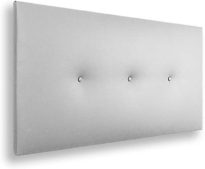 Silcar Home - Cabecero de Cama Tapizado en Polipiel con Hilera de Botones, Modelo Silvi (Blanco, 90 cm) | Cabecero Acolchado | Cabezal Tapizado | Cabecero Original