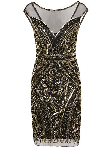 Vijiv 1920s Short Prom Dresses V Neck Inspired Sequins Cocktail Flapper Dress,Black Gold,Small